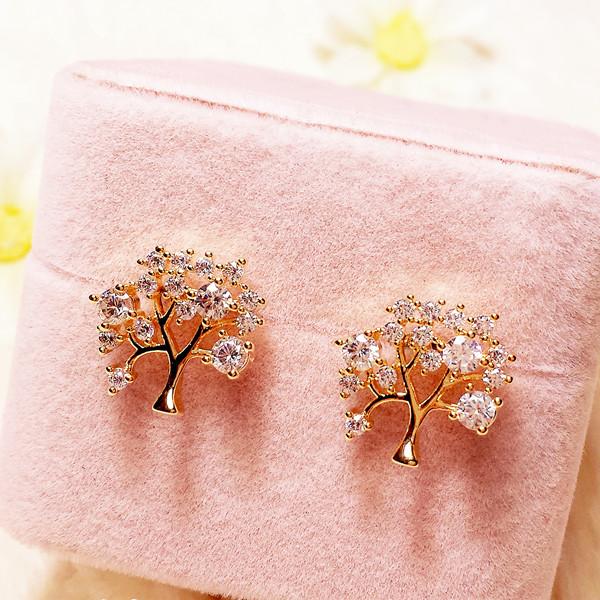 925纯银耳针精致时尚招财树满钻金色镂空小树耳钉 气质百搭耳饰女