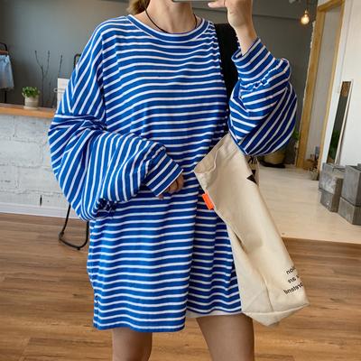 Hamo韩国东大门代购20春新款宽松男友风中长款条纹纯棉长袖T恤女