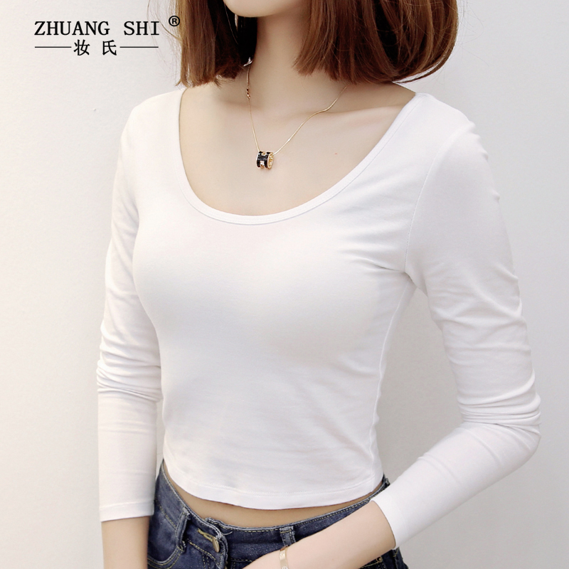 Short T-shirt womens long sleeve 2021 spring top slim cotton low collar with back exposed navel and high waist with bottom coat