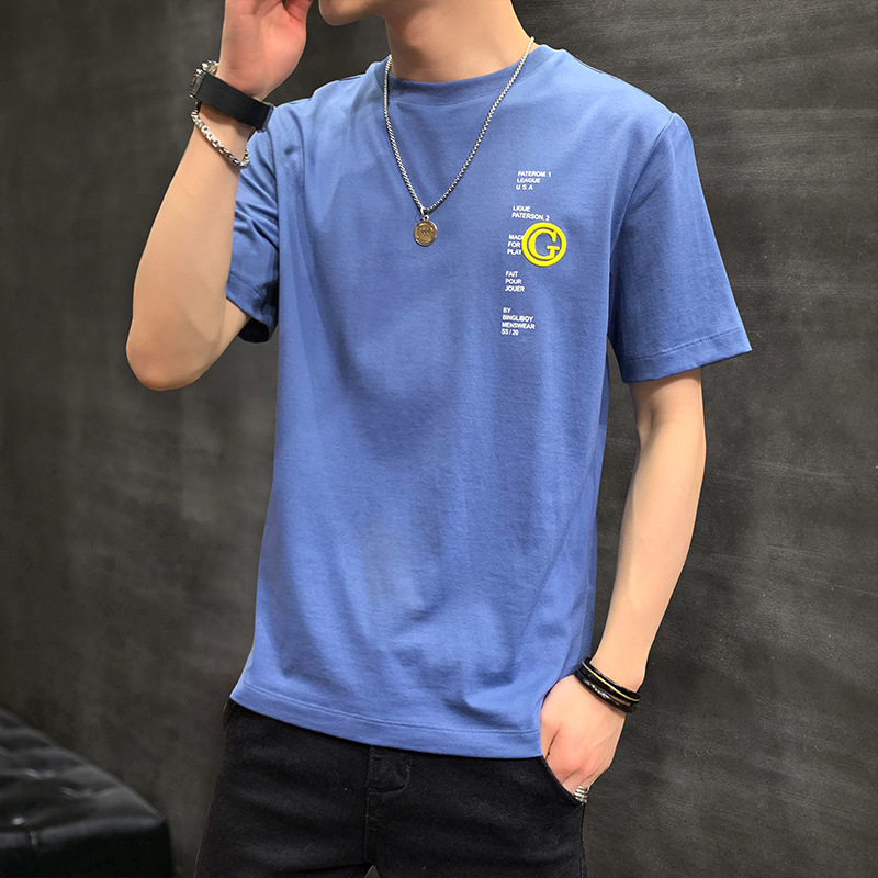 Short sleeve t-shirt mens summer round neck Youth Blue Solid Thin non hooded spot casual slim bottom shirt