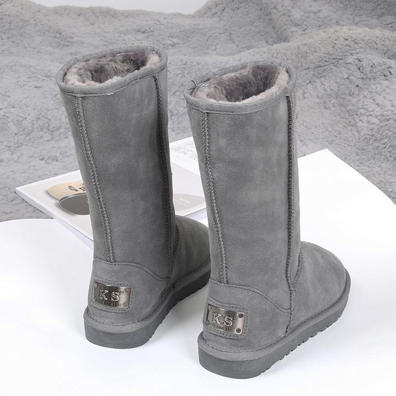 2020新款韩版百搭防滑东北雪地棉鞋真皮加绒加厚长筒雪地靴女高筒