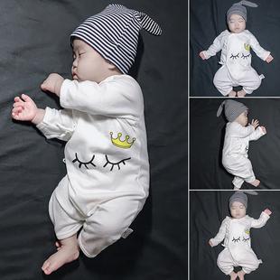 新生儿女婴儿童连体衣服初生宝宝男和尚服睡衣套装春装春秋装夏装