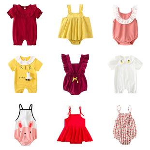 女宝宝包屁衣睡衣三角哈衣公主夏季 新生婴儿连体衣服短袖 薄款 夏装