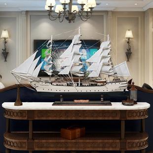 芬兰天鹅号帆船模型摆件酒店大堂装 饰工艺品船模装 饰船模型摆设