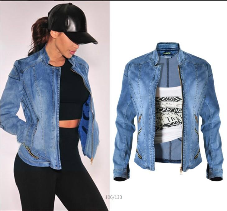 European and American popular womens Baseball Jacket, elastic jeans jacket, multi zipper motorcycle, large size