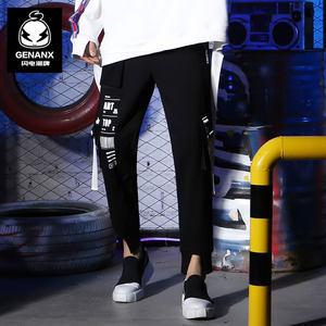 GENANX闪电潮牌裤子男秋天时尚新款飘带装饰松紧带男运动裤hiphop