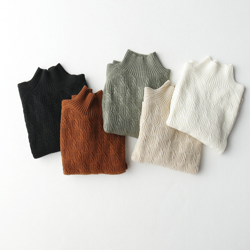 Autumn and winter 2020 new woolen sweater basic style slim half high collar twist wool knitted bottomed sweater for women
