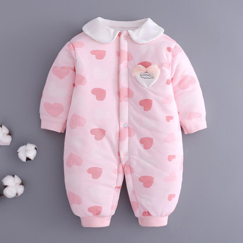 新生婴儿衣服连体衣宝宝哈衣爬服0-3个月秋冬装6保暖纯棉加厚棉衣