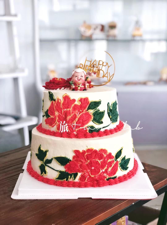 创意蛋糕树脂寿公寿婆蛋糕装饰摆件公仔