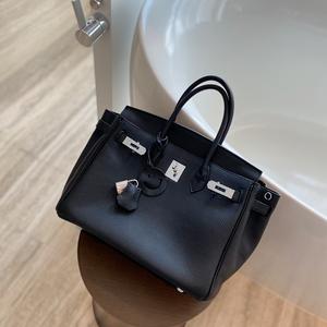 YIXXI定制高级感黑色铂金包银扣 真皮大容量手提包头层牛皮女包软