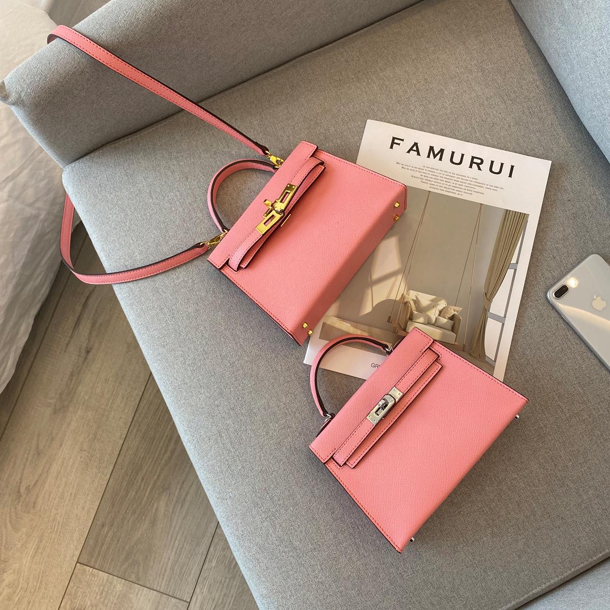 新款单肩斜跨迷你小包2020牛皮高级感时尚粉色凯莉包定制YIXXI