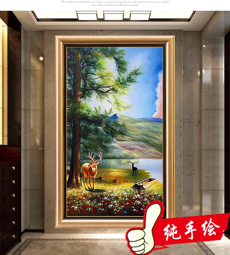 纯手绘油画竖版轻奢挂画入户玄关装饰画山水风景招财风水进门墙画