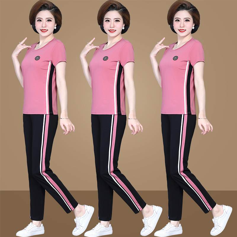 Mother sports suit women plus big size casual clothes for 50-60-year-old mothers