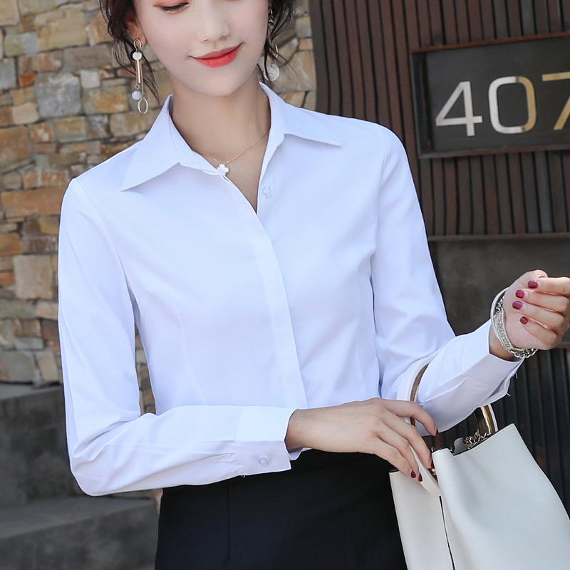 防走光暗扣棉质衬衣工作服职业正装修身长袖白色春装潮流衬衫女