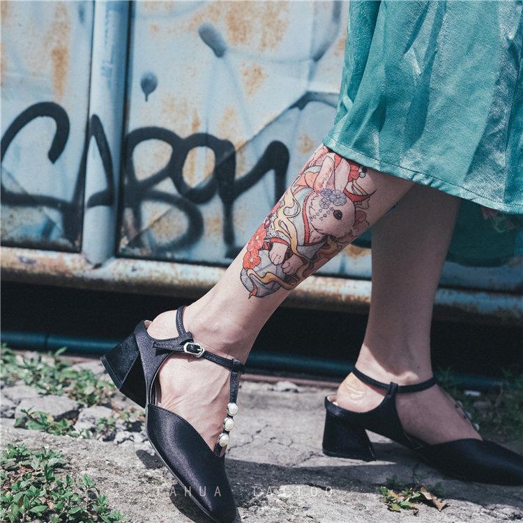 她畫 浮世繪兔子 暗黑紋身貼彩色酷個性防水女男圖案胸前花臂文身