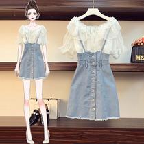 大码女装夏季新款微胖妹妹mm遮肚洋气减龄显瘦连衣裙背带两件套装