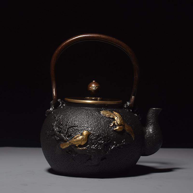 喜鹊登梅老铁壶铸铁茶壶 茶壶环保无涂层茶具茶楼用品样品房摆件