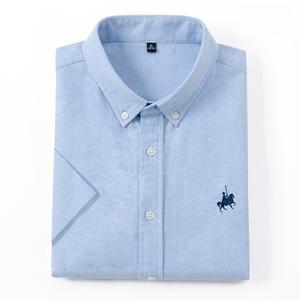 欧保罗2021夏季纯棉牛津纺短袖衬衣