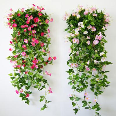 仿真牵牛花假花藤条装饰花藤室内壁挂墙面吊兰塑料花藤蔓吊篮植物