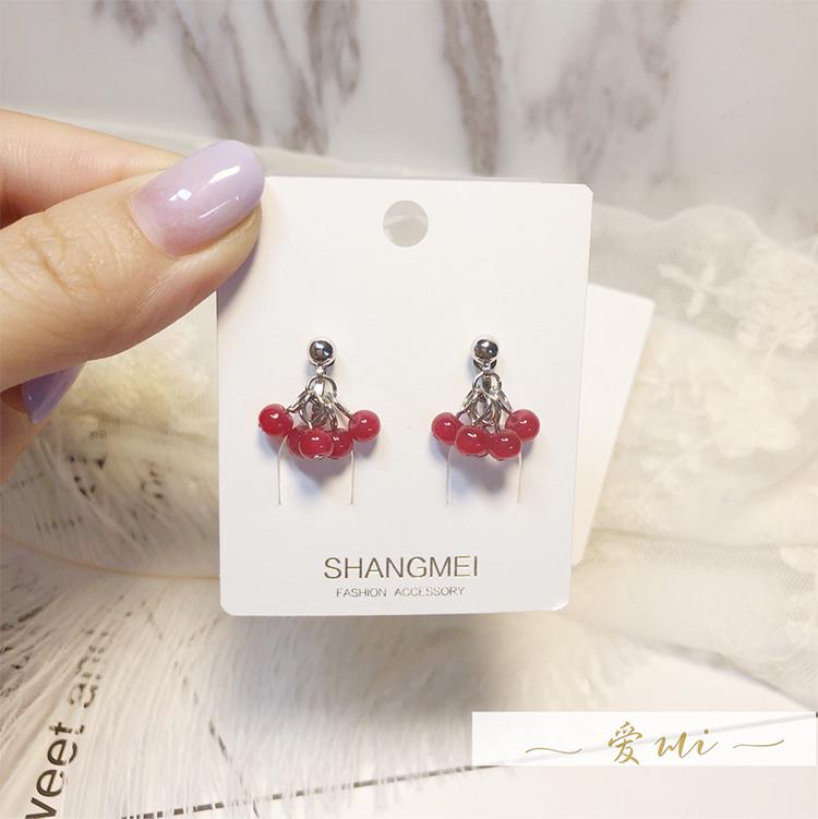 Korean cute little grape crystal simple temperament earless earrings with new earrings