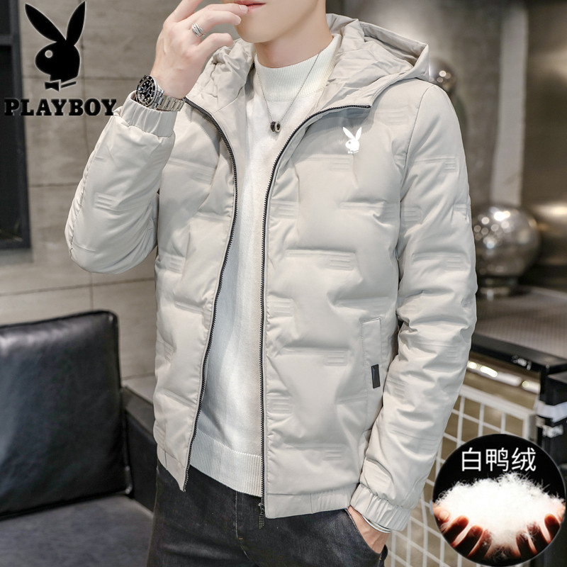 Playboy down jacket men's winter clothing 2020 new short winter thickening trendy casual jacket hooded top