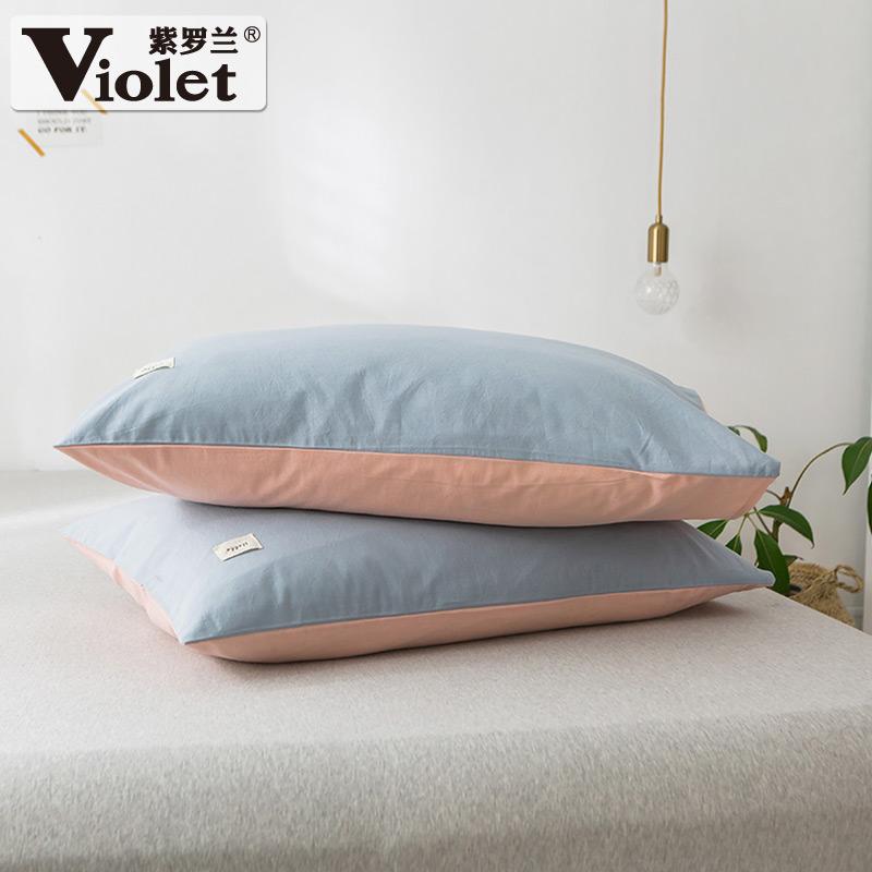 紫罗兰一对装全棉水洗棉枕套纯棉48X74cm枕头套枕芯套枕袋枕皮套