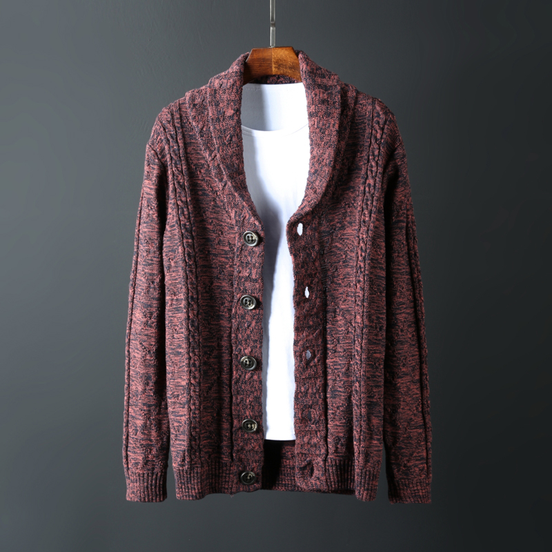 Spring and autumn wear British Style Mens sweater pure cotton Lapel cardigan coat sweater mens sweater fashion