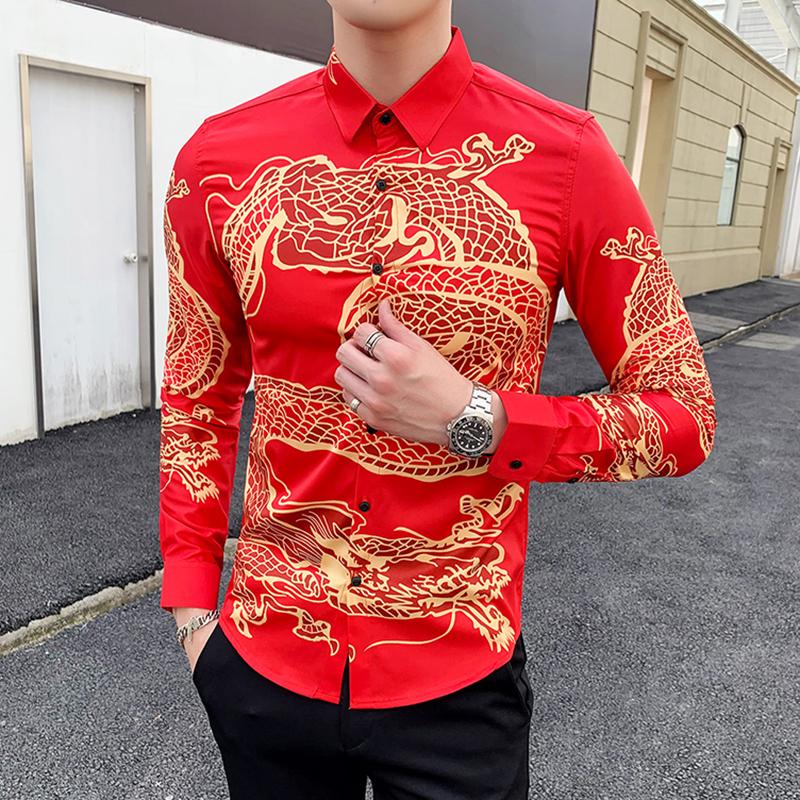 中国风盘龙印花修身大红色长袖衬衫C095-P55