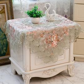 欧式美式现代蕾丝厚花边床头柜盖布桌布茶几布冰箱空调盖布防尘罩