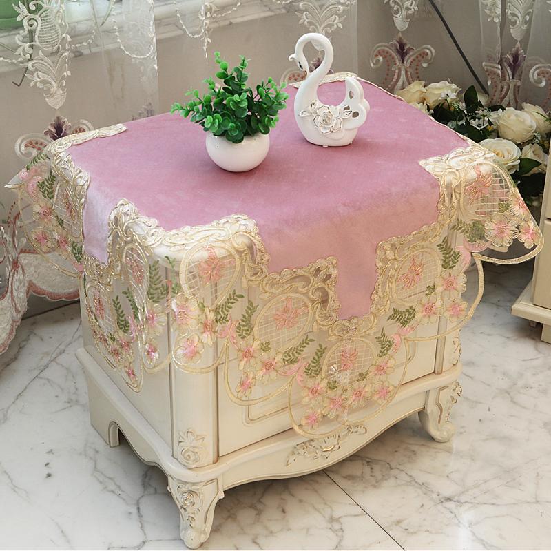 粉色欧式公主风蕾丝花边茶几布