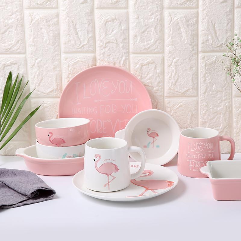 火烈鳥盤子創意陶瓷餐具套裝牛排西餐盤雙耳焗飯碗馬克杯早餐杯