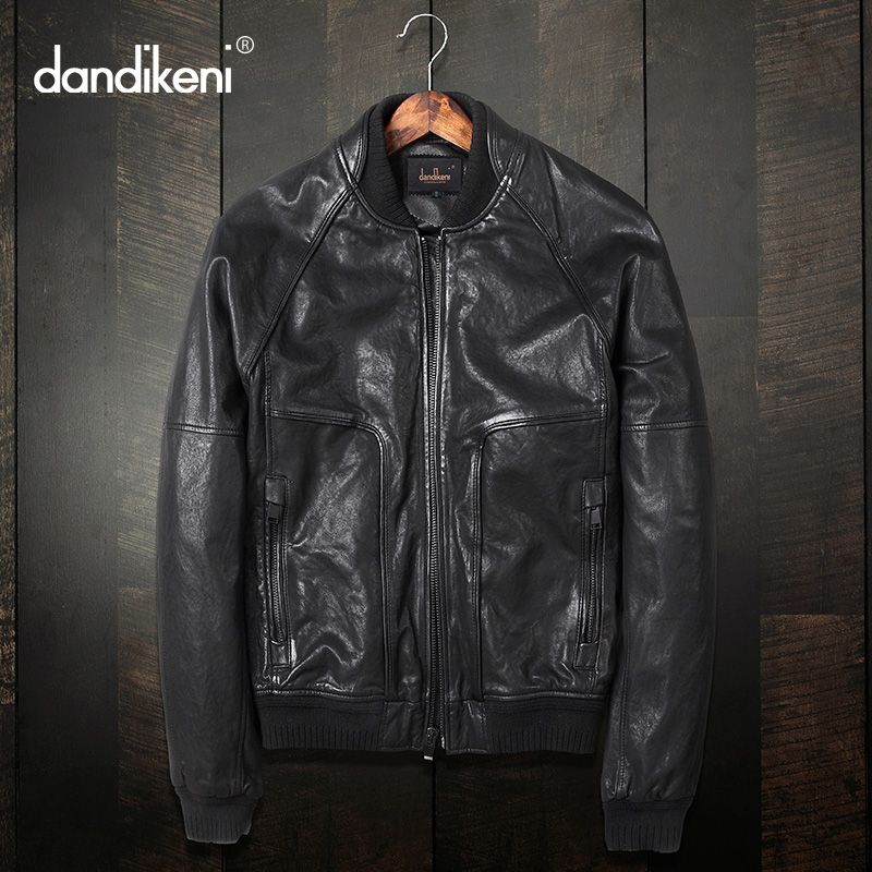 Men's leather jacket, short collar, sheepskin locomotive, leather jacket, trim leather jacket, Korean version, handsome young jacket