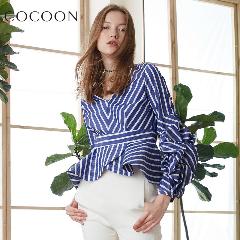 可可尼商�鐾�款2018春秋�b新品女�bV�I�L袖�l�y�r衫荷�~�上衣