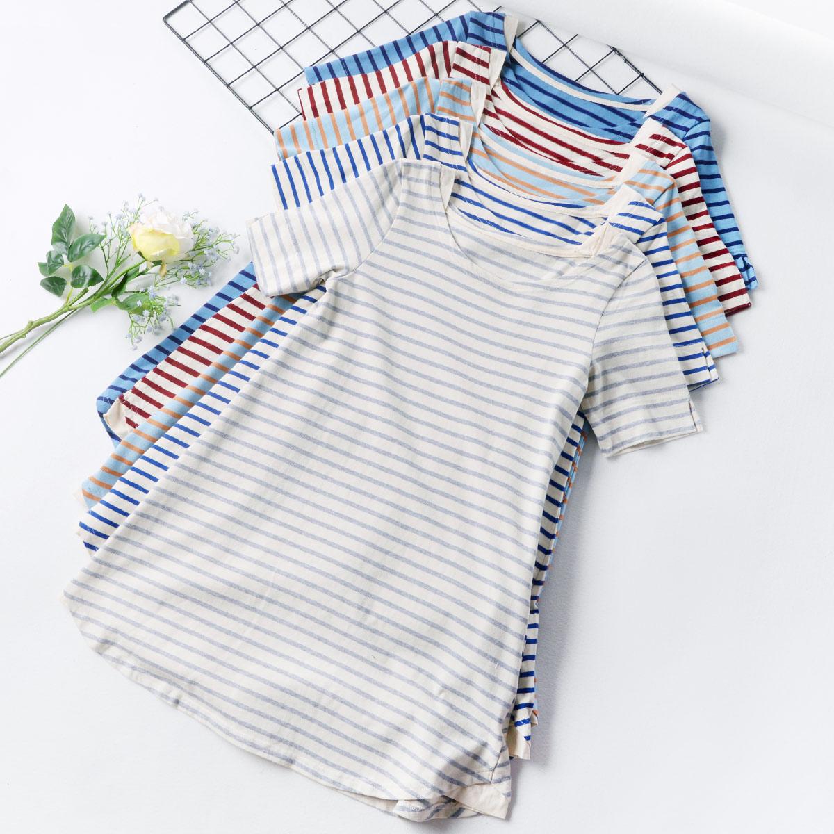 Z11 條紋中長款t恤女夏季短袖2018新款學生寬鬆韓版百搭拼接上衣
