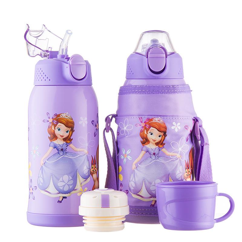 迪士尼宝宝保温杯带吸管婴儿水壶幼儿园儿童防摔喝水杯小孩学饮杯(非品牌)