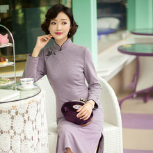 Yi Hongyan, Bai MI, the retro celebrity of the Republic of China, improved cheongsam, women's long sleeve, girls' new knitting dress