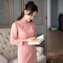 Yihongyan bamboo shadow Chinese style retro temperament improved cheongsam dress new cheongsam in autumn 2019