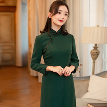 Yihongyan Yusheng 2019 new wool fit Chinese style retro autumn winter modified cheongsam dress