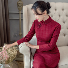 Yihongyanjin Chinese style autumn winter 2019 new cheongsam long style improved dress
