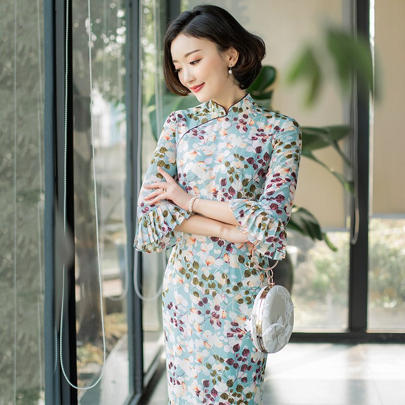 逸红颜诗月新式旗袍雪纺淡雅改良旗袍连衣裙年轻款少女学生日常穿