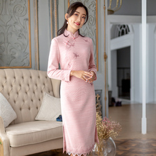 Yihongyan yunmengze 2019 new autumn and winter cheongsam Chinese style retro female temperament improved cheongsam dress