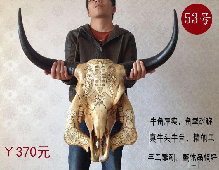 牦牛头骨工艺品 天然真牛头装饰品羊头骨标本特色手工艺牛头墙挂