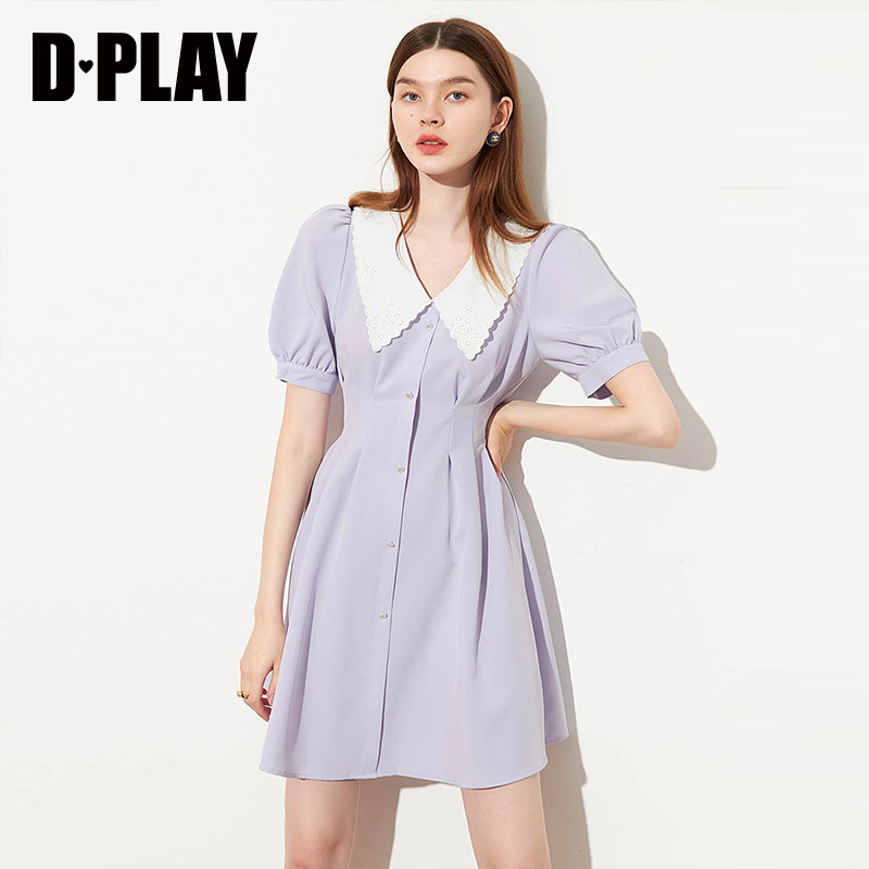 DPLAY De Pala 2020 summer new purple lapel sweet temperament dress fashion girl skirt
