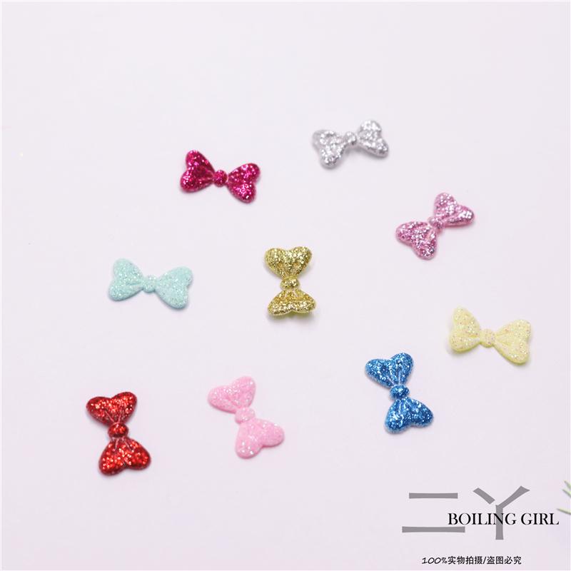 Ins handmade DIY jewelry childrens hairpin flash powder Mini bow patch flash powder material headdress hair accessories