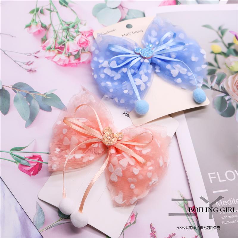 Ins Korean bow net hairpin girl bangs Princess cute head ornament side princess material bag