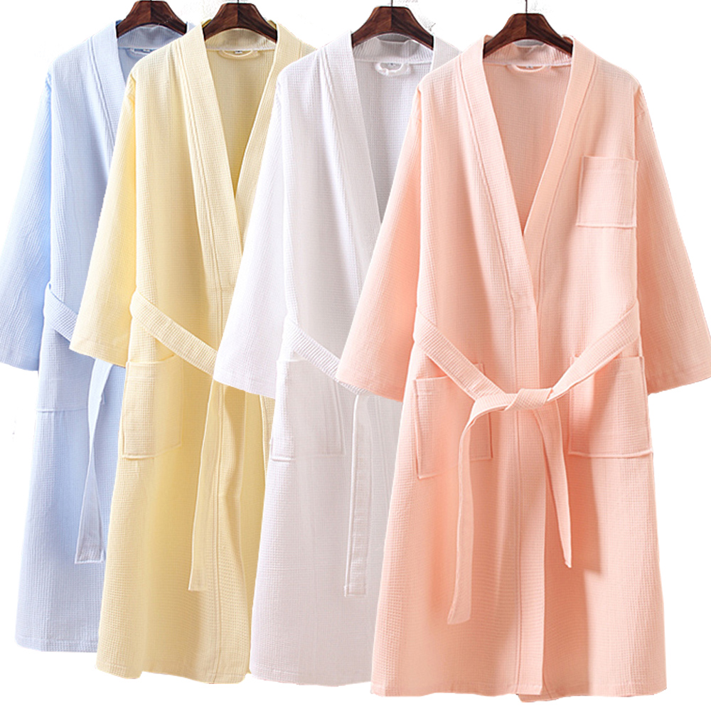 Five star hotel Nightgown men and womens pure cotton bathrobe in spring and summer all cotton thin Pajama lengthening water absorbent bathrobe
