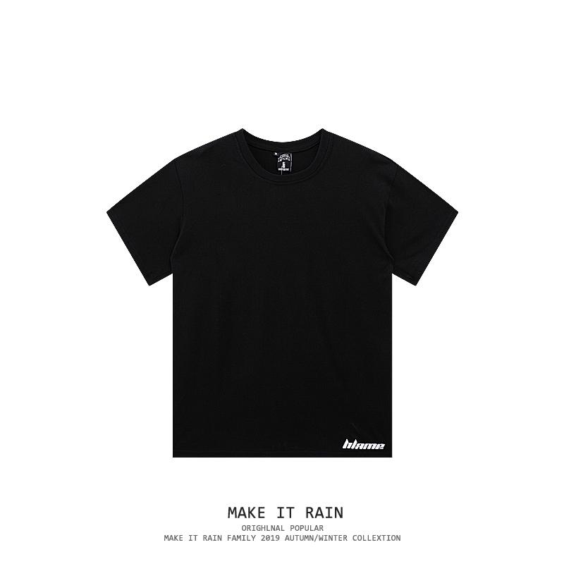 白色短袖t恤宽松2021新款ins潮纯黑色棉内搭打底半袖上衣服男