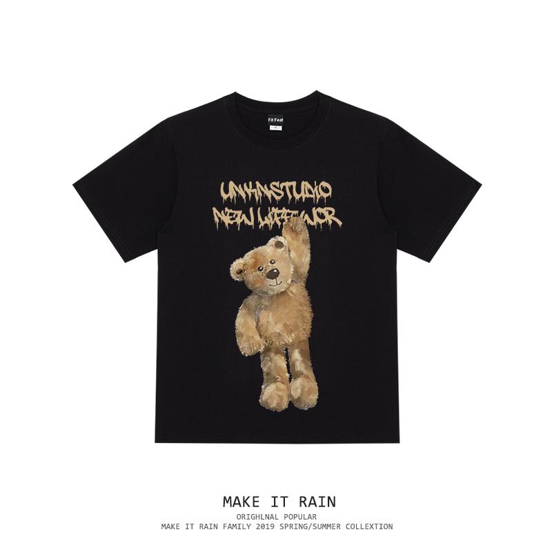 2020夏季ins潮流小熊印花圆领短袖T恤男女情侣街头嘻哈潮牌tee