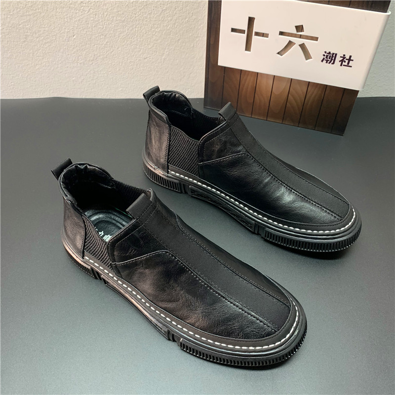 春季新款黑色板鞋一脚蹬潮流时尚休闲鞋百搭韩版快手红人同款男鞋