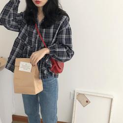 yesroom自制秋季新款韩版复古显瘦棉麻V领泡泡袖格子娃娃衫衬衫女
